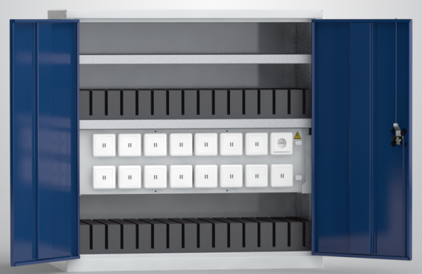 KLW Universal-Ladeschrank für Tablets / Laptops / Notebooks (30 USB-Ladestellen; 1 x 230V-Steckdose), Höhe 1m