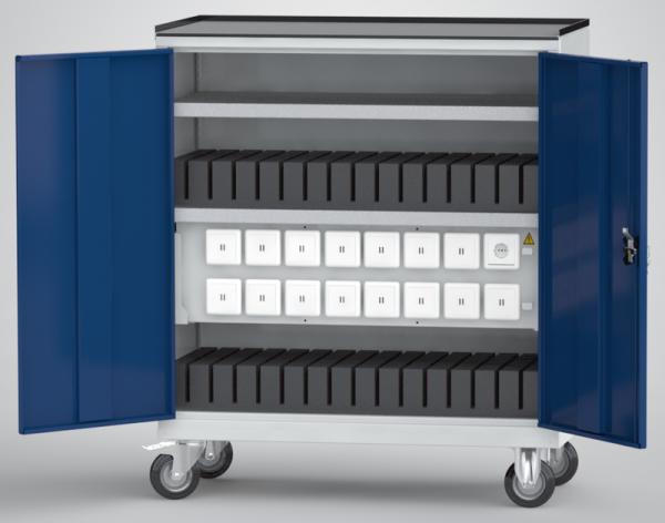 KLW fahrbarer Universal-Ladeschrank für Tablets / Laptops / Notebooks (30 USB-Ladestellen; 1 x 230V-Steckdose)
