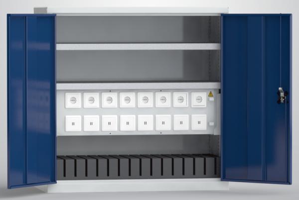 KLW Universal-Ladeschrank für Tablets / Laptops / Notebooks (16 USB-Ladestellen; 8 x 230V-Steckdose), Höhe 1m
