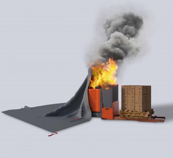 BRIDGEHILL Forklift Fire Blanket Small Löschdecke für Flurförderzeuge und Elektrofahrzeuge / E-Autos