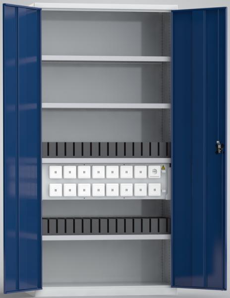 KLW Universal-Ladeschrank für Tablets / Laptops / Notebooks (30 USB-Ladestellen; 1 x 230V-Steckdose), Höhe 2m