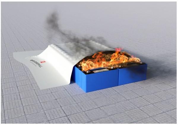 BRIDGEHILL Extreme Fire Blanket Löschdecke für kleine Lithium-Akku-Brände und fossile Brennstoffe