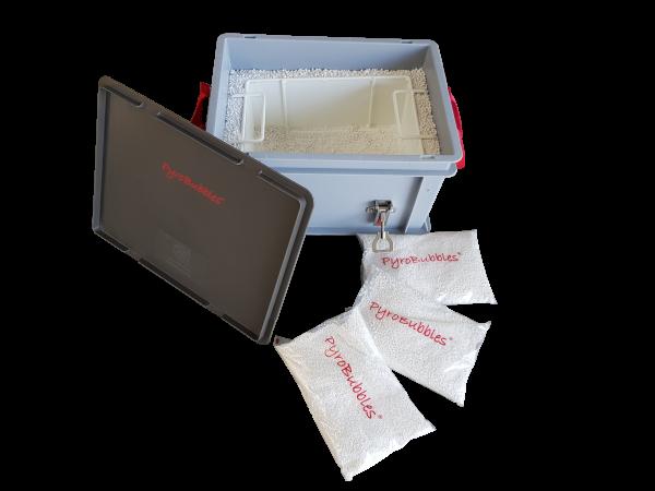 Genius Lio Guard XS-Box 1 Premium Kunststoff-Behälter für Li-Ionen-Akkus inkl. Pyrobubbles