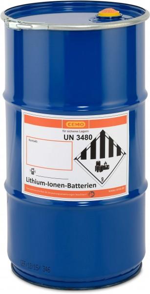 CEMO Akku-Sicherheitstonne / Lager- und Transportfass für Lithium-Ionen-Akkus inkl. Vermiculite