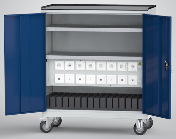 KLW fahrbarer Universal-Ladeschrank für Tablets / Laptops / Notebooks (16 USB-Ladestellen; 8 x 230V-Steckdose)